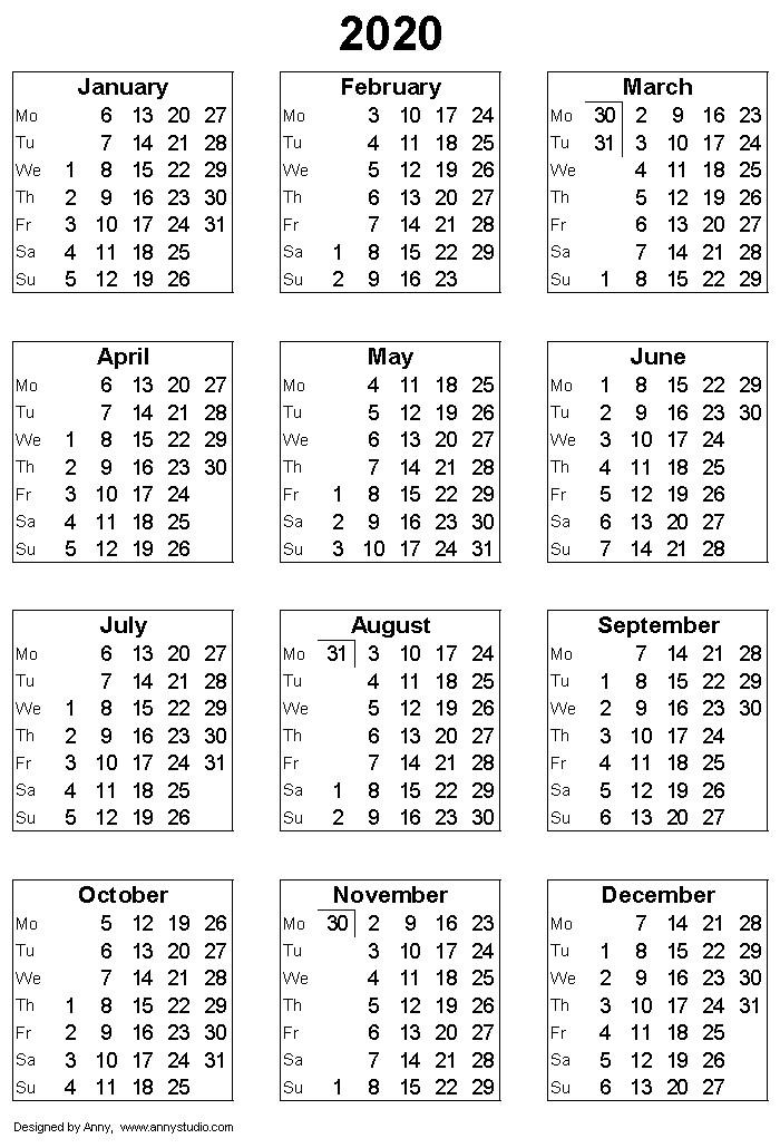 Printable Calendar 2020 Weekly