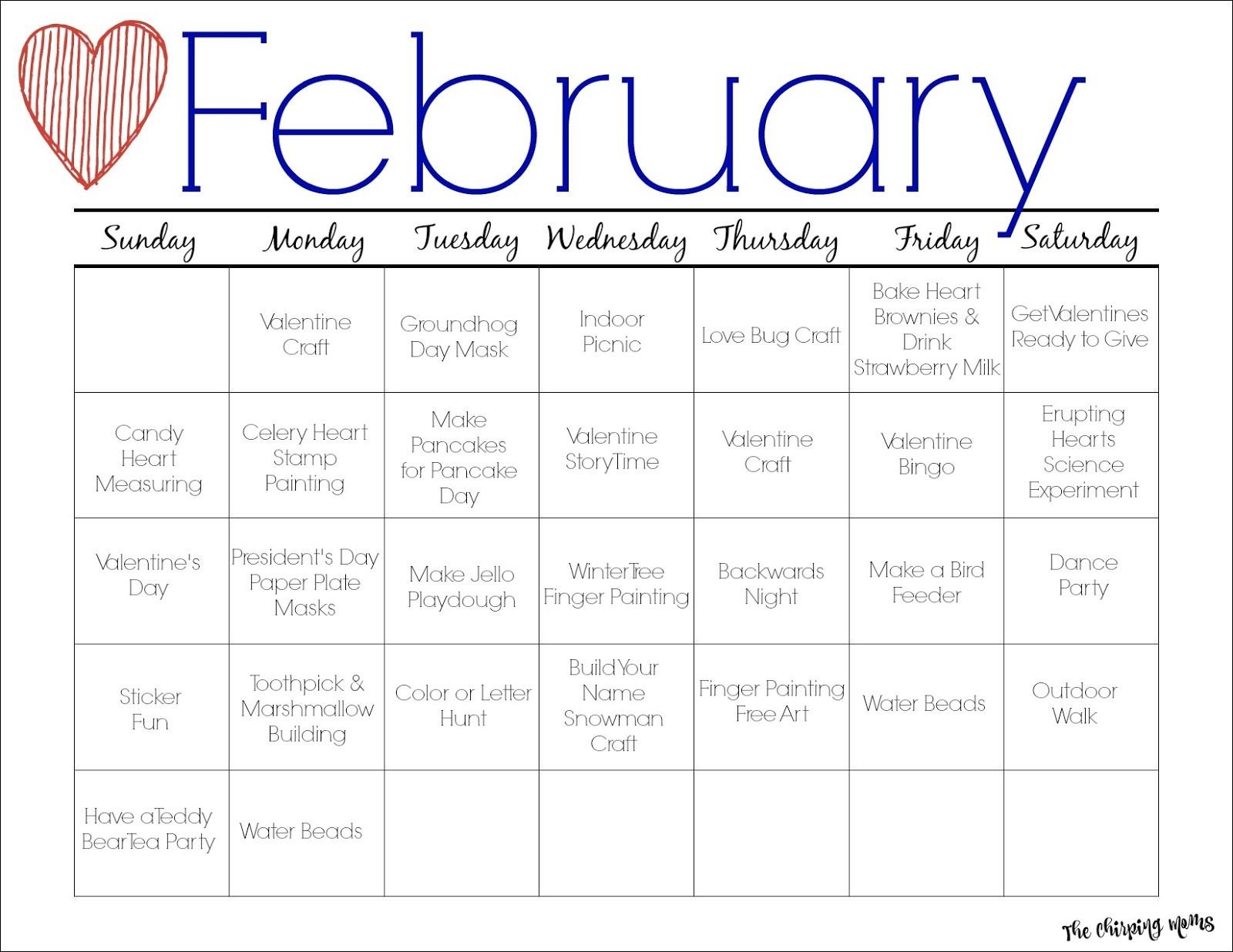 Printable Calendar Activities February Printable Activity Calendar for Kids the