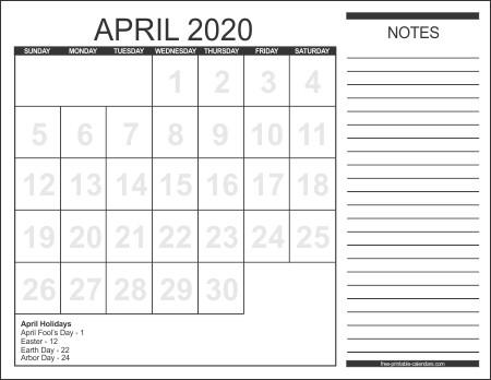 Printable Calendar April 2020 2020 Calendar Style 1 Free Printable Calendars