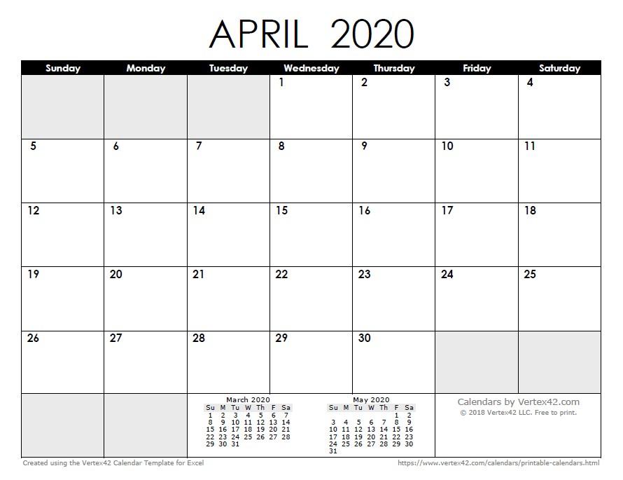 graphic regarding April Calender Printable named Printable Calendar April 2020 2020 Calendar Templates and