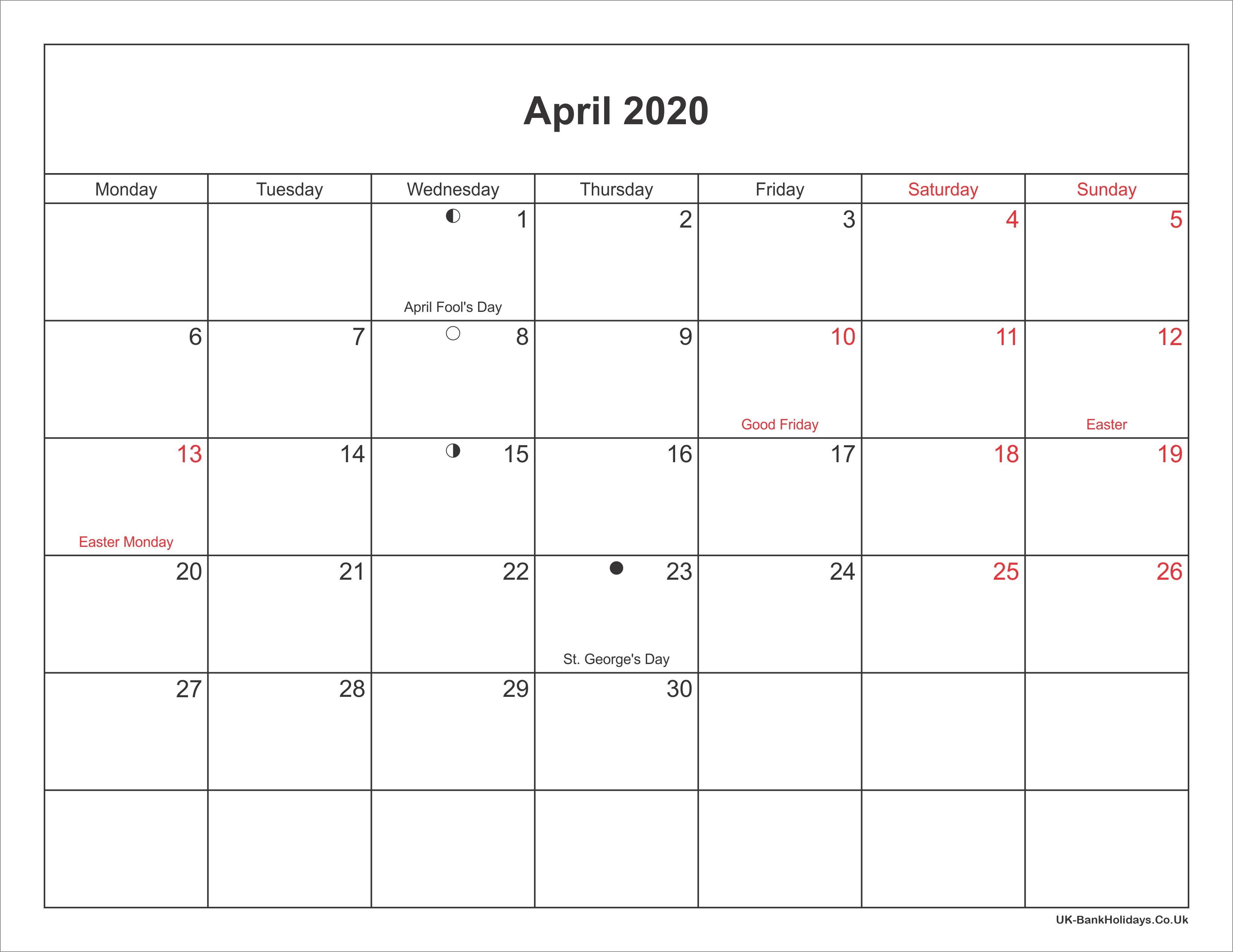 April 2020 Calendar Printable with Bank Holidays UK