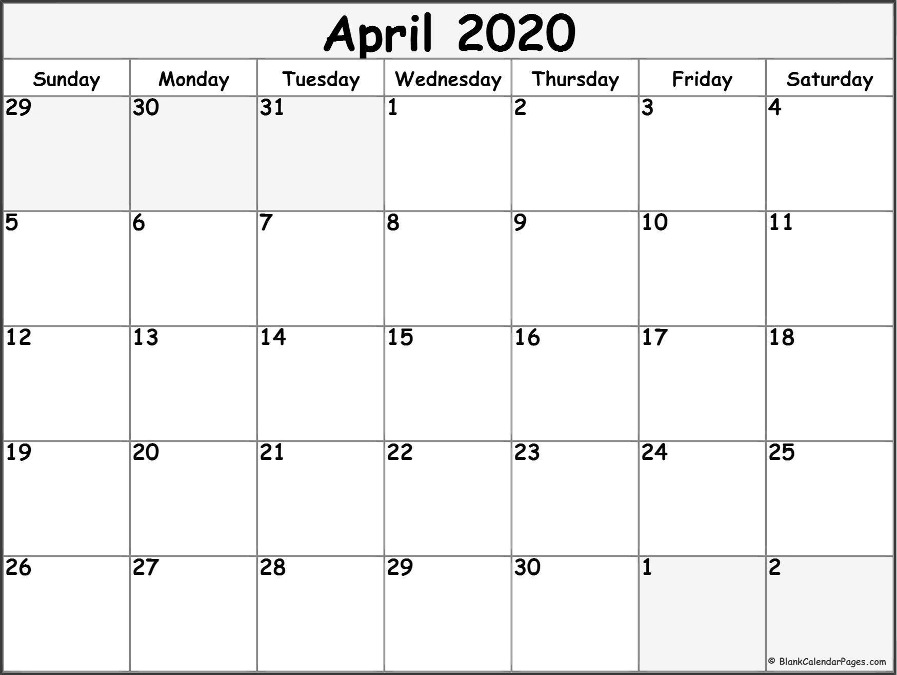 Printable Calendar April 2020 April 2020 Free Printable Blank Calendar Collection