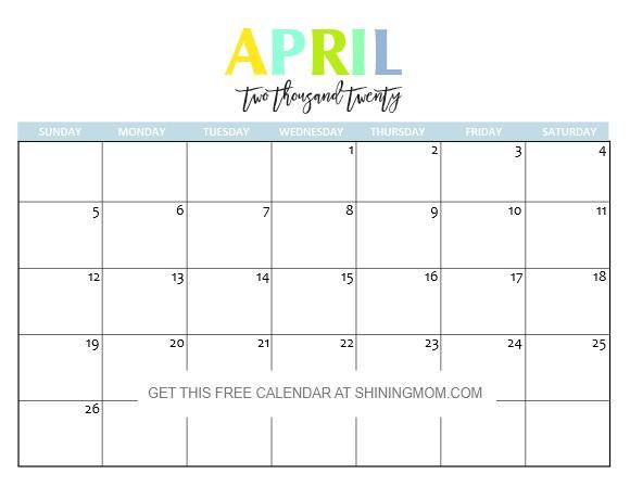 Printable Calendar April 2020 Free Printable 2020 Calendar so Beautiful & Colorful