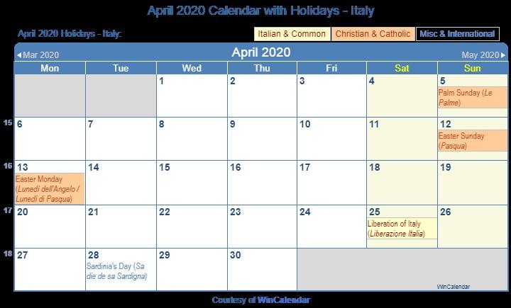 Printable Calendar April 2020 Print Friendly April 2020 Italy Calendar for Printing