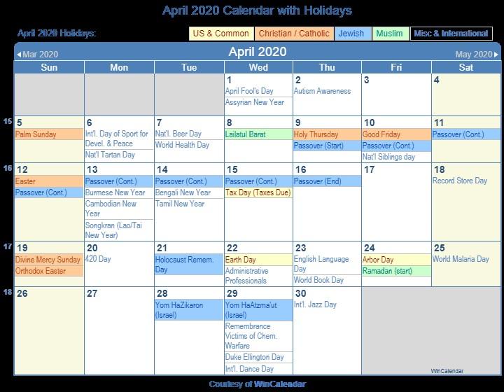 Printable Calendar April 2020 Print Friendly April 2020 Us Calendar for Printing