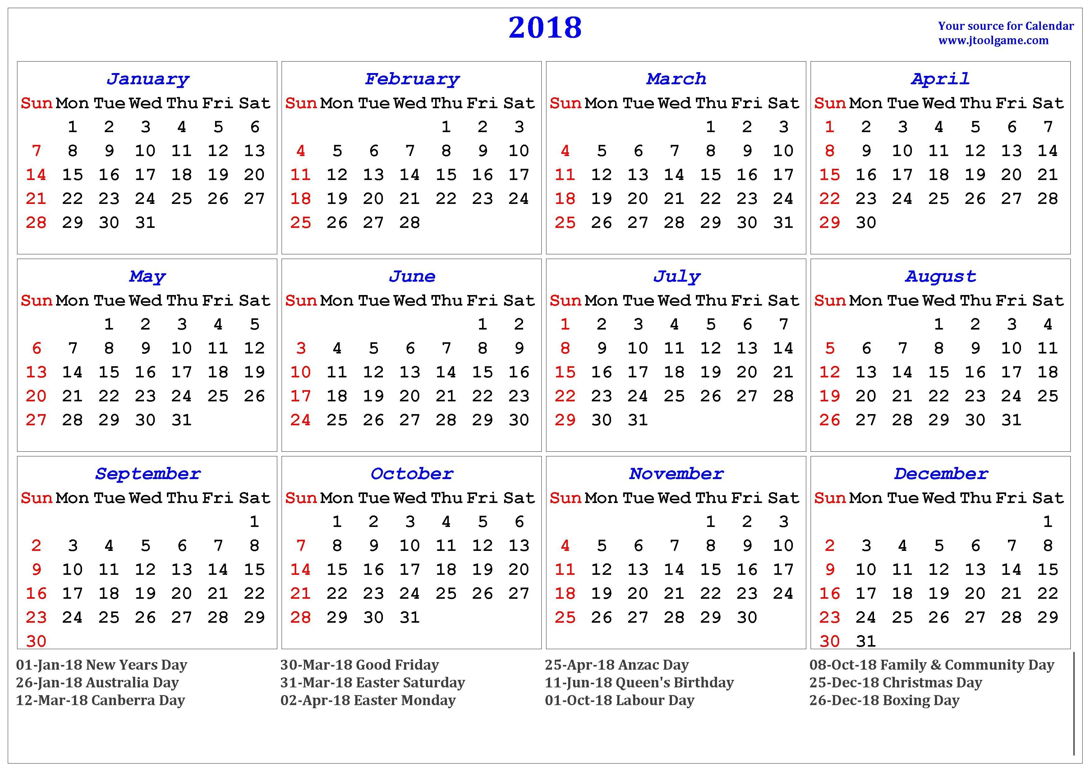 Printable Calendar Australia 2018 Calendar Printable for Free Download India Usa Uk