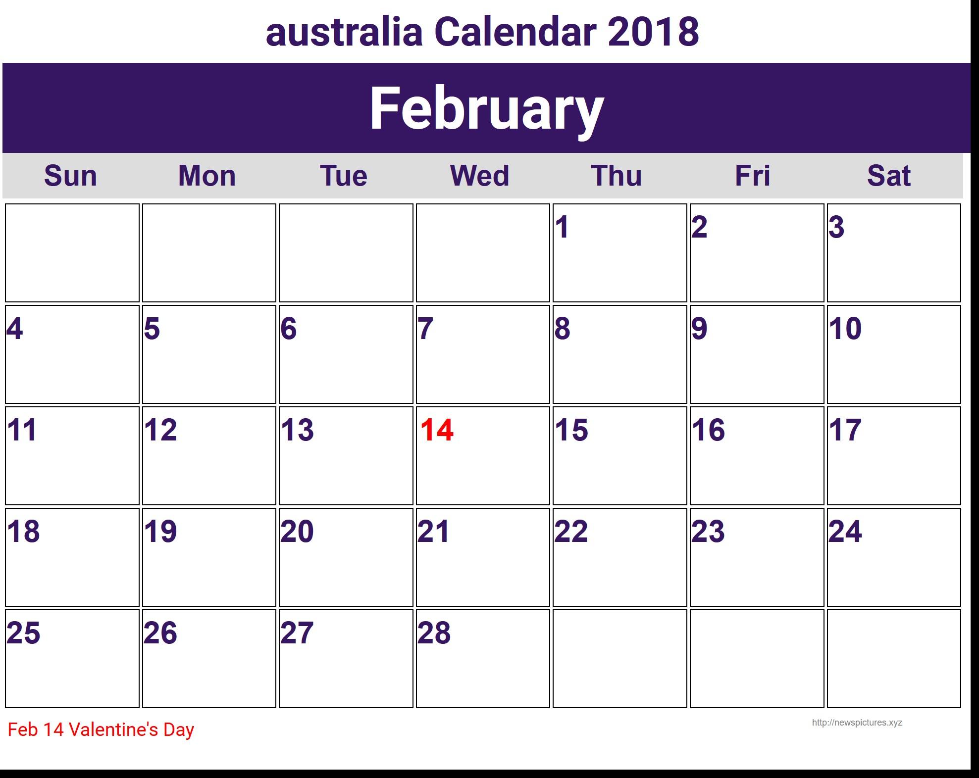 Printable Calendar Australia Printable February 2018 Calendar Australia with Holidays
