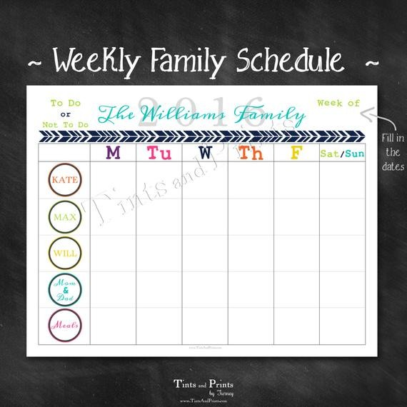 Personalized Weekly Family Schedule 2016 by TintsAndPrints