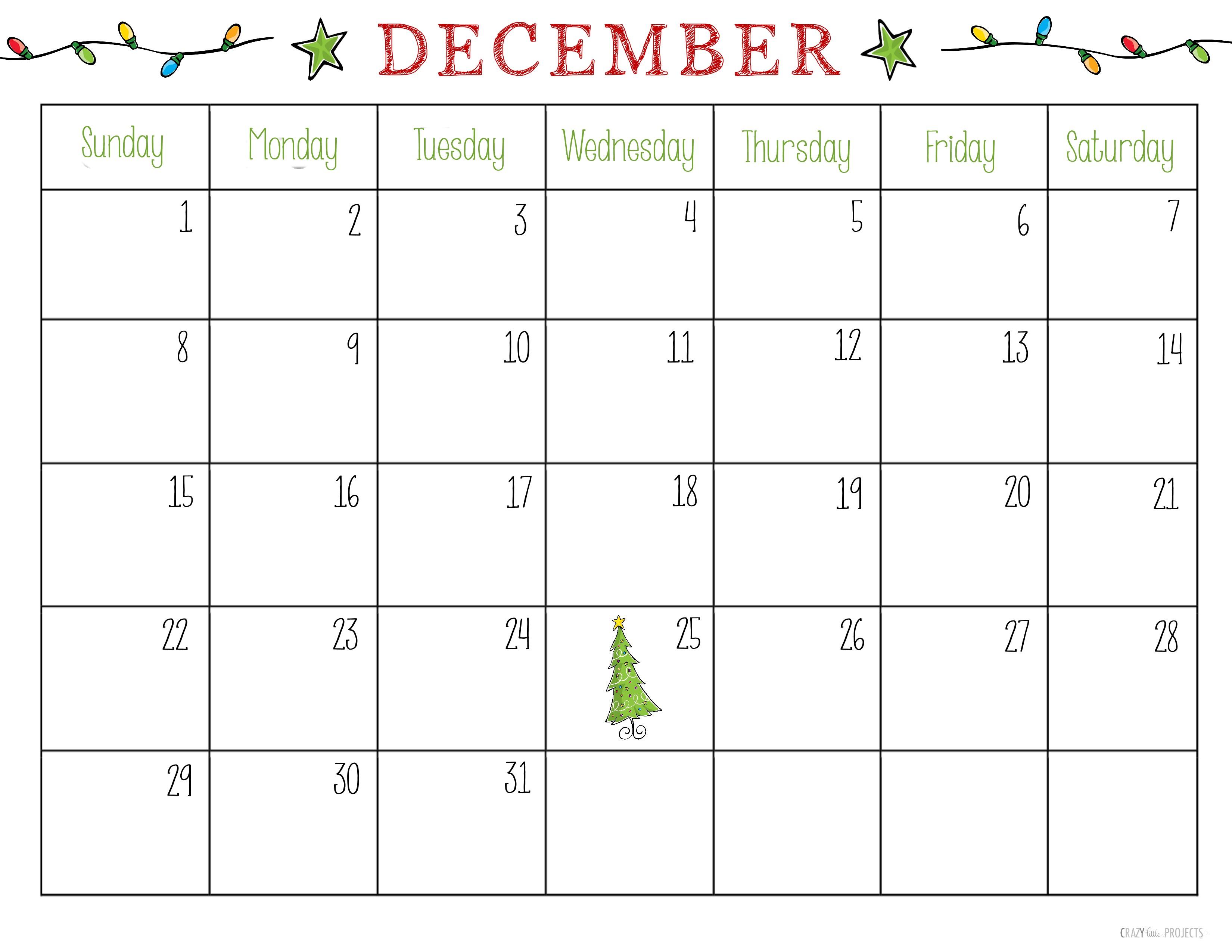Printable Calendar for December Free Printable Christmas Planner