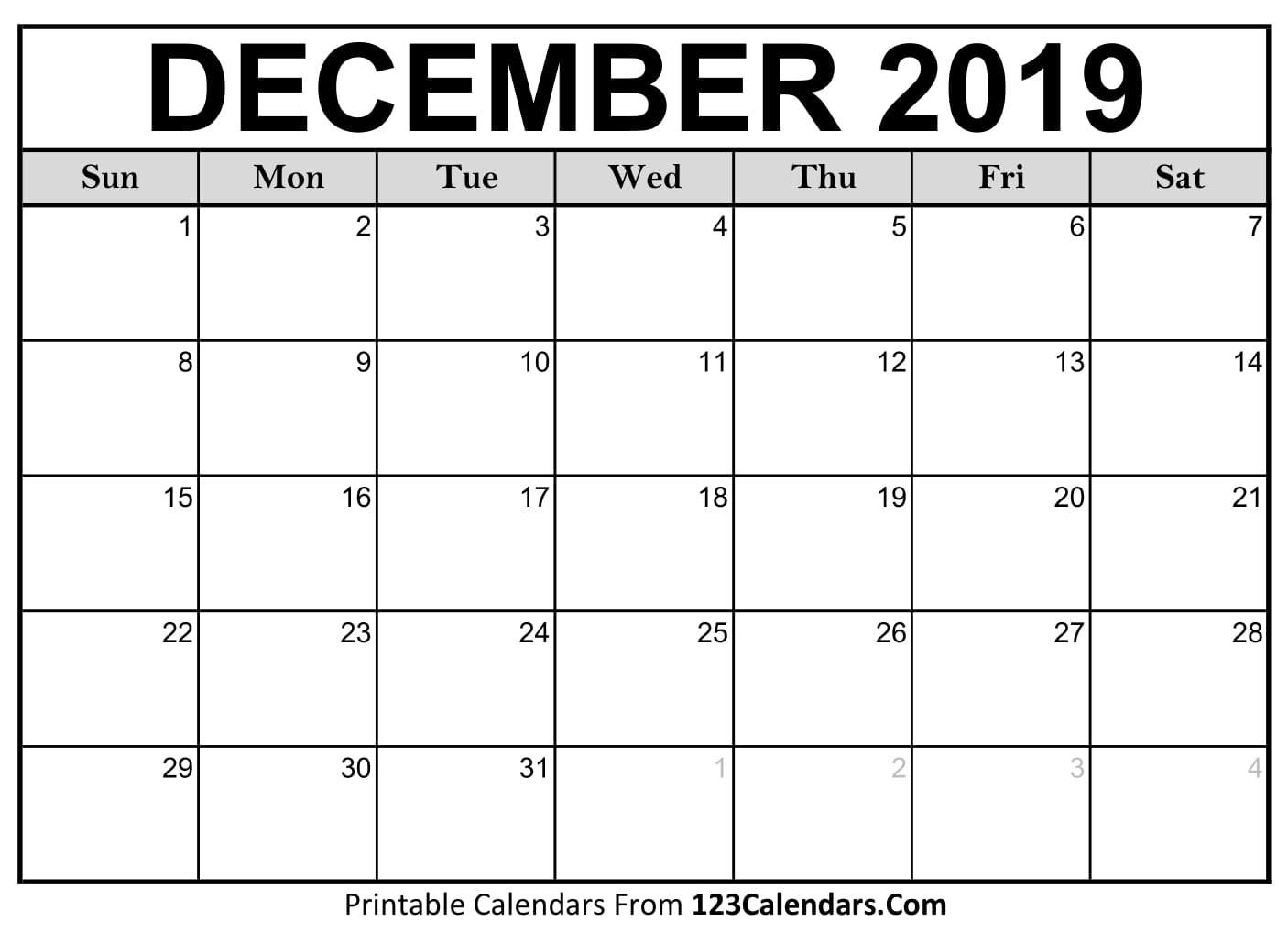 Printable December 2018 Calendar Templates 123Calendars