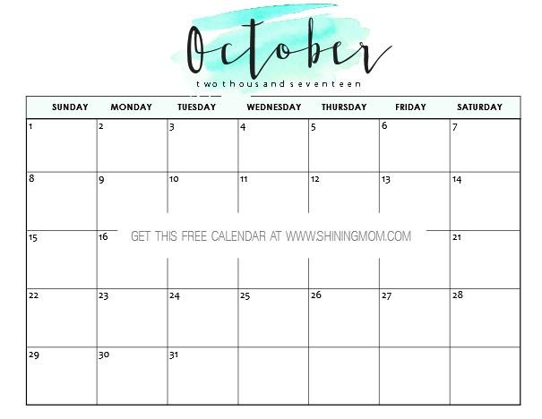 Printable Calendar for October Free Printable October 2017 Calendar 12 Awesome Designs