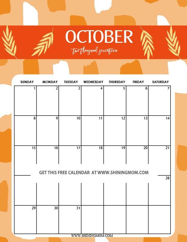 Printable Calendar for October Fun and Cute 2017 Calendar Printable