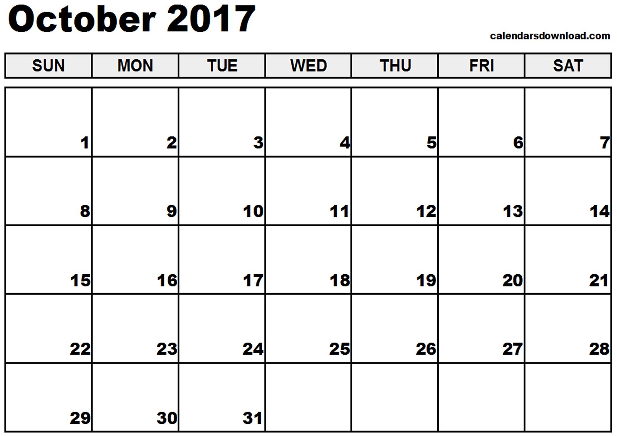 Printable Calendar for October October 2017 Calendar