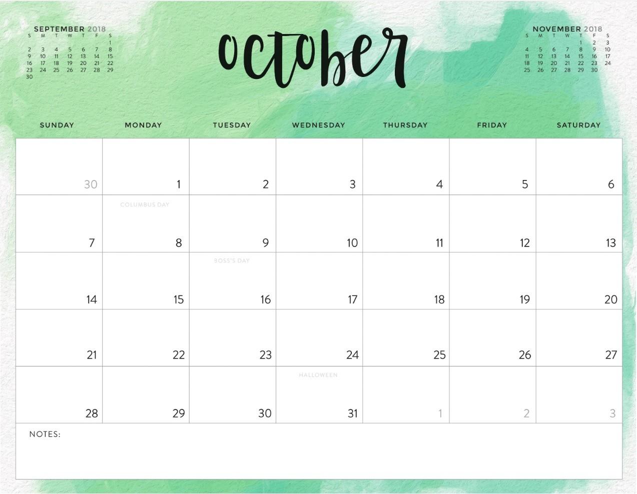 Printable Calendar for October Printable October 2018 Calendar