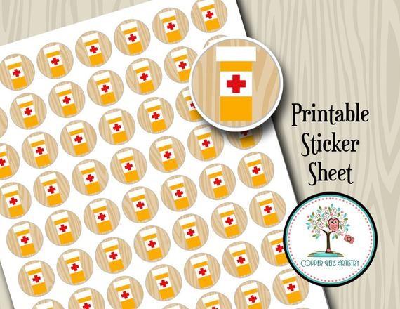 Items similar to Printable Stickers Medicine Reminder