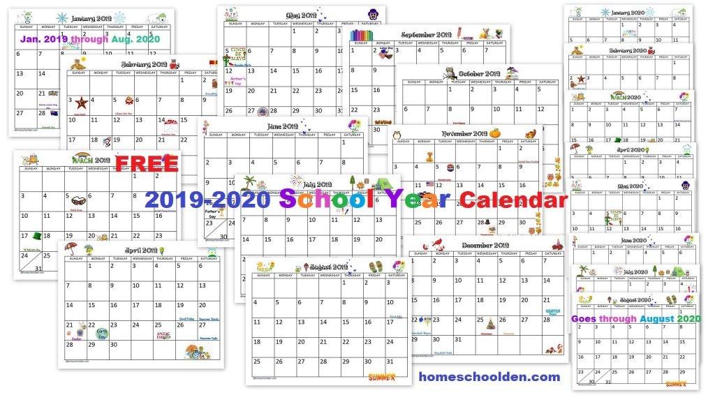 Free 2019 2020 Calendar Printable Homeschool Den