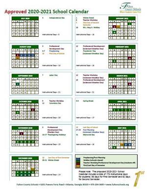 Calendar Year 2020.Printable Calendar School Year 2020 15 Fulton County Schools