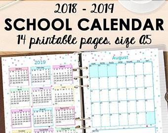 Printable Calendar School Year 2020-15 School Calendar Academic Monthly Planner 2018 2019 Monthly