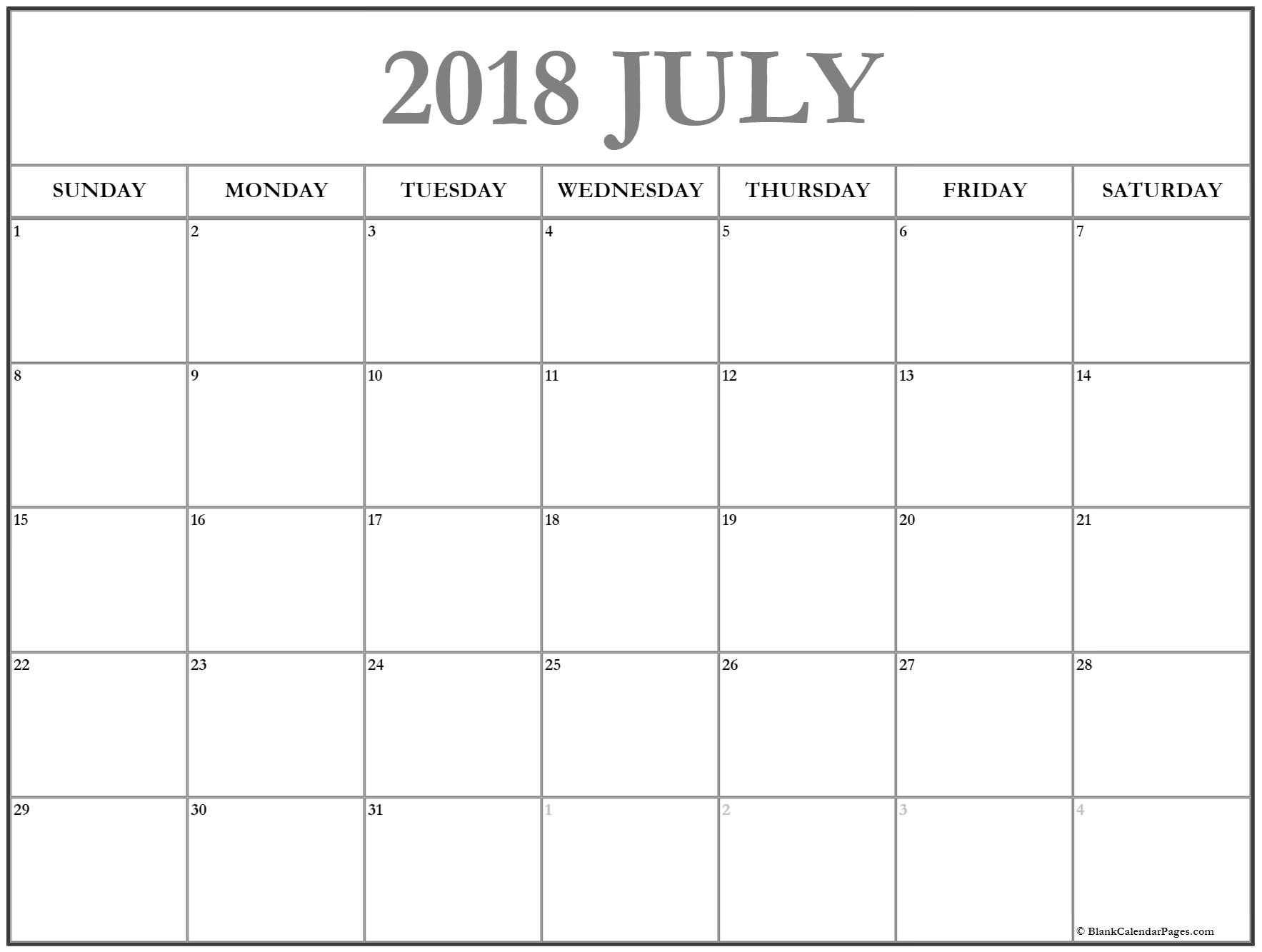 Printable Calendar Sheets July 2018 Calendar