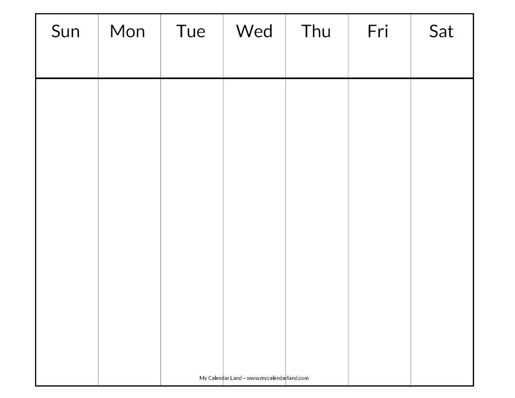 Printable Calendar Week Blank Calendar Printable My Calendar Land