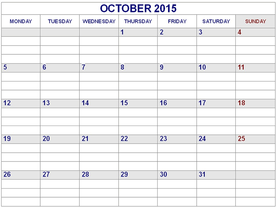 Printable Calendar with Lines