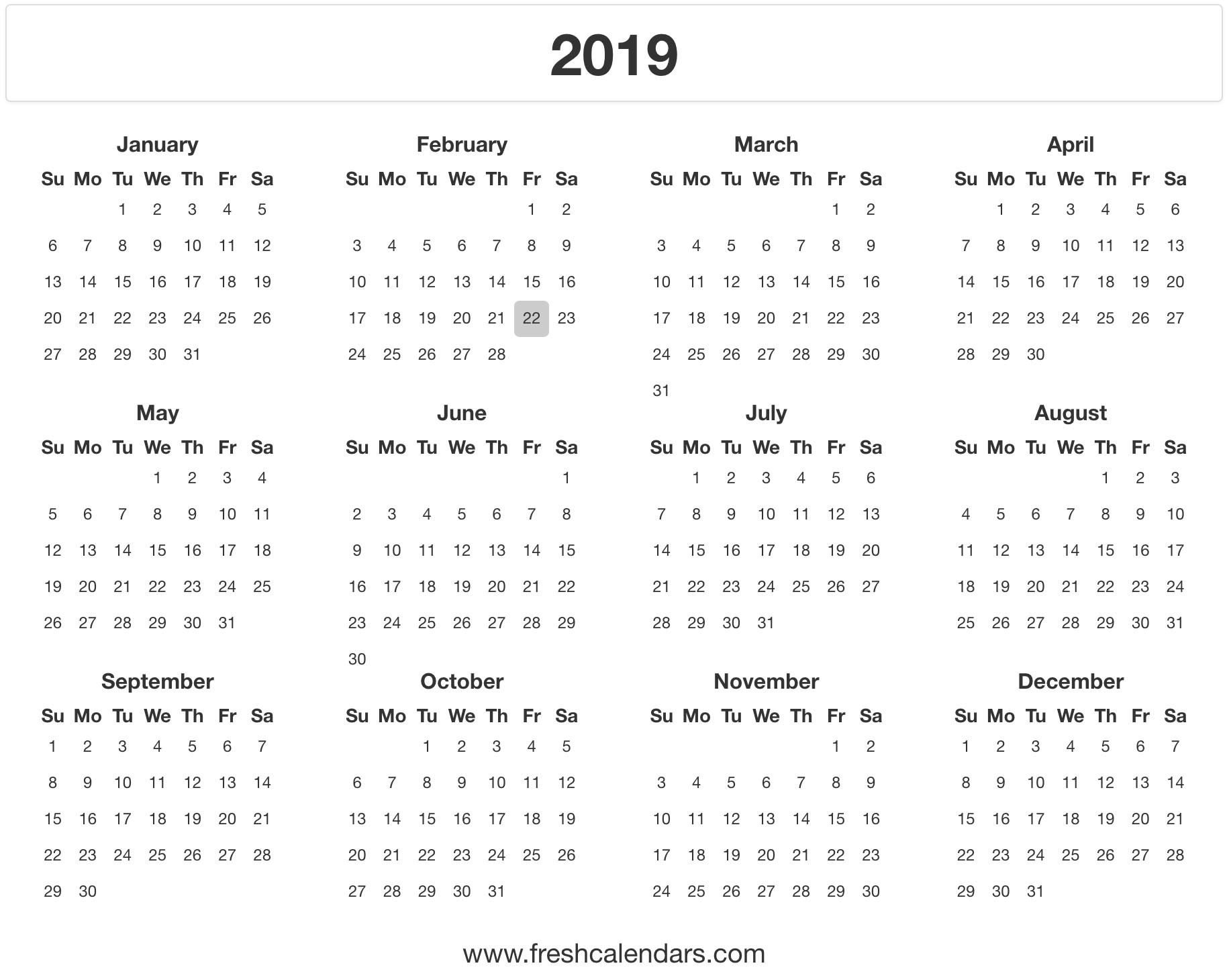 Printable Calendars 2019 Free 2019 Calendar