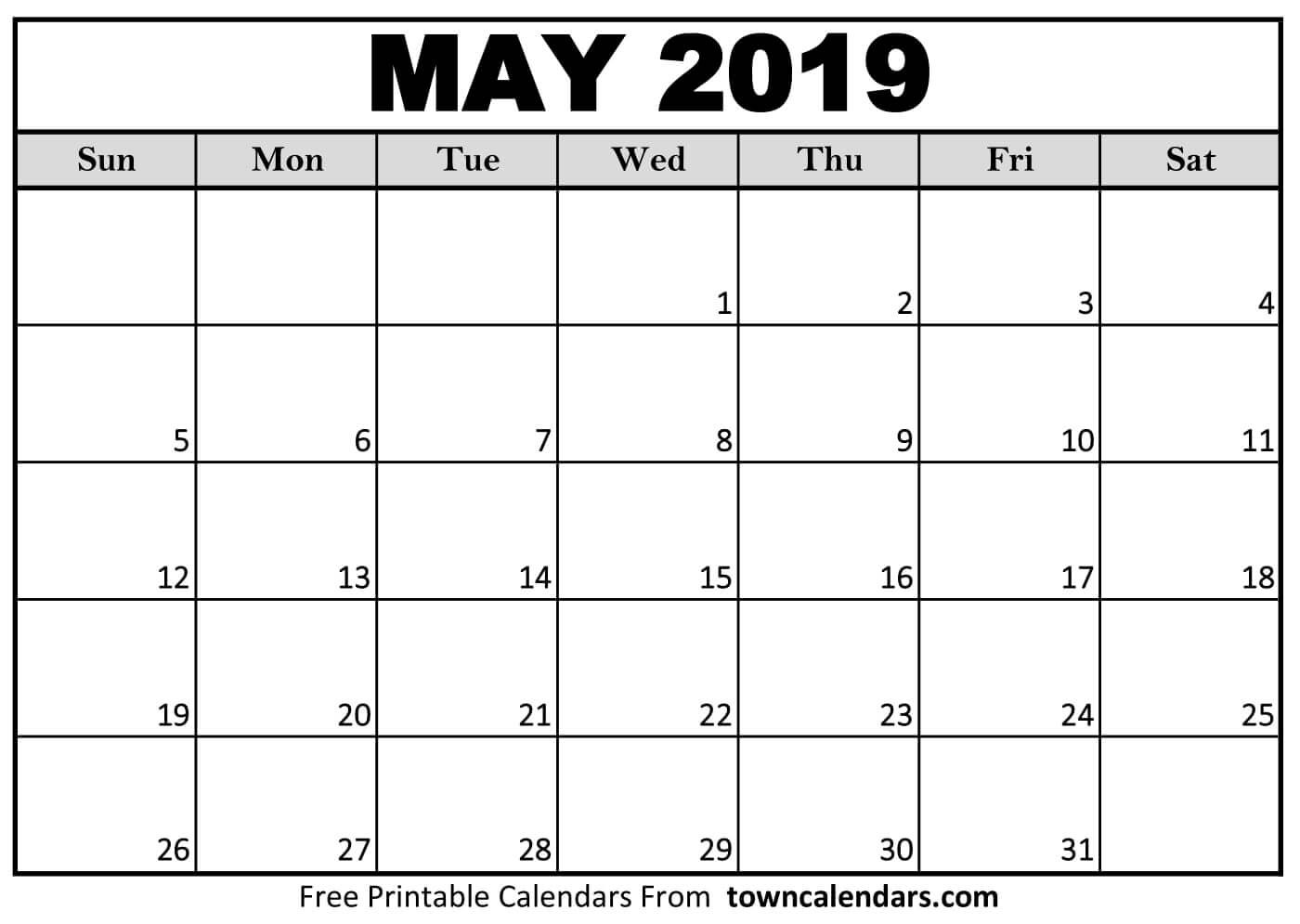 Printable Calendars 2019 Free Printable May 2019 Calendar towncalendars