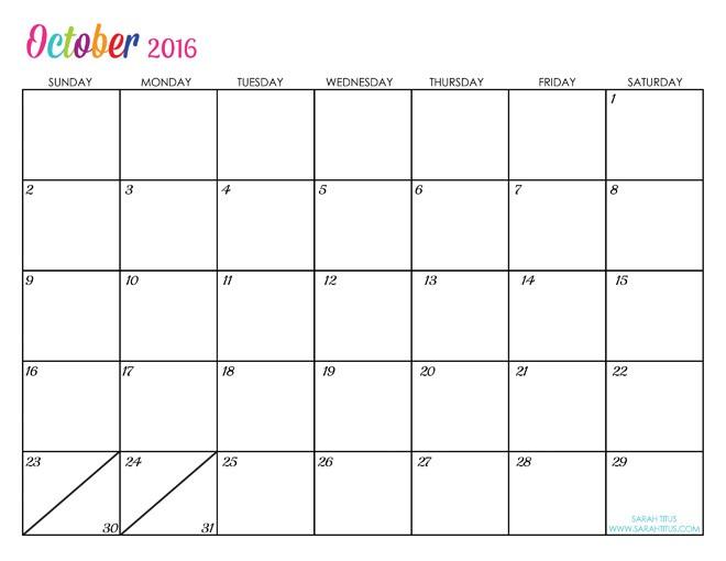Printable Editable Calendars Custom Editable Free Printable 2016 Calendars Sarah Titus