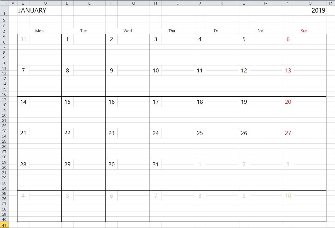 Printable Excel Calendar Simple 2018 Excel Calendar Template