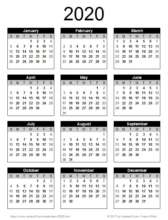 Printable Full Year Calendar 2020