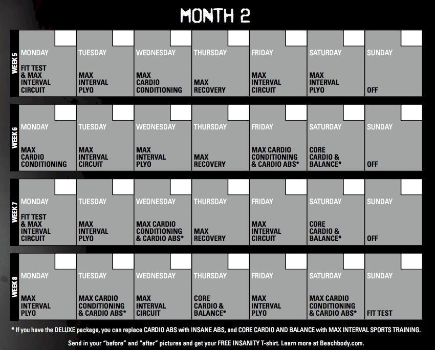 Printable Insanity Workout Wall Calendar Insanity Calendar 60 Day Insanity Workout Schedule
