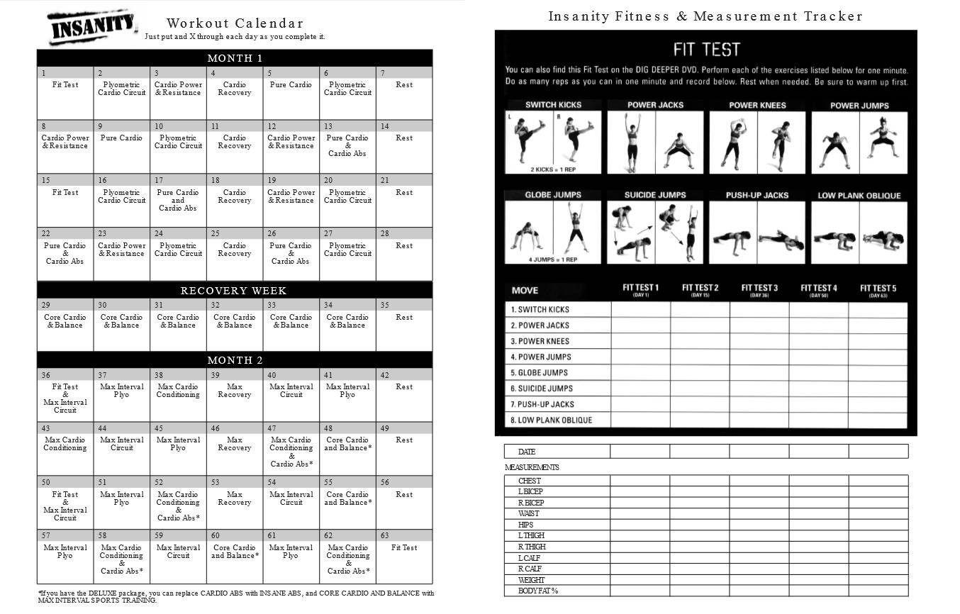 Printable Insanity Workout Wall Calendar Printable Insanity Workout Calendar Pdf Free