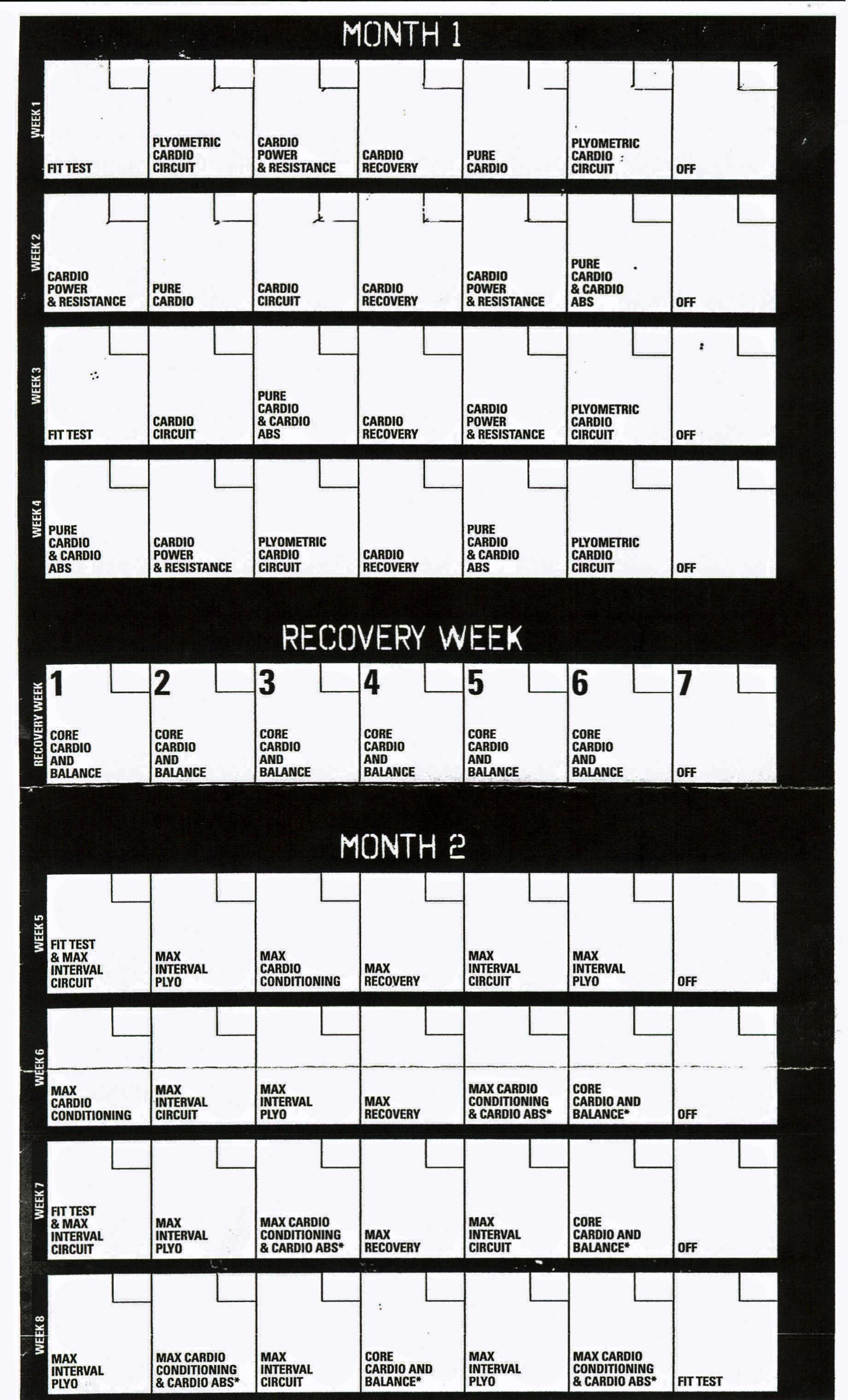 Printable Insanity Workout Wall Calendar Tim is… Faq