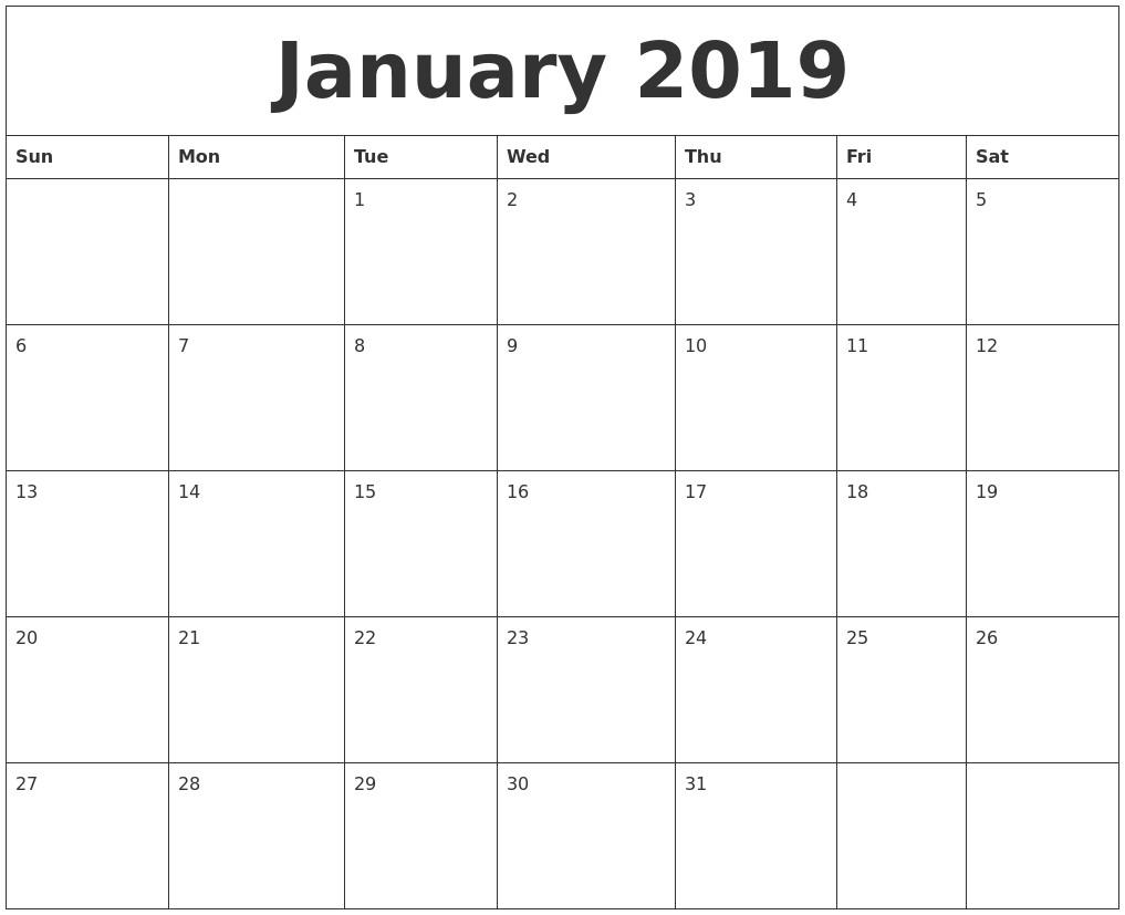 Printable January 2019 Calendar January 2019 Calendar