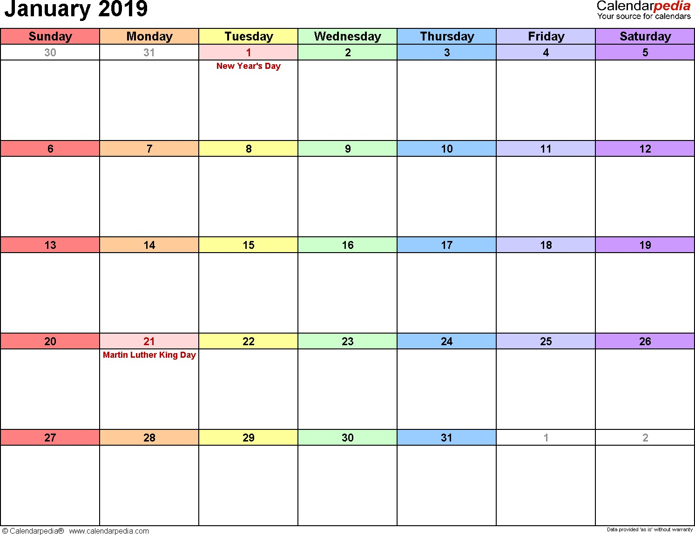 Printable January 2019 Calendar January 2019 Calendars for Word Excel & Pdf