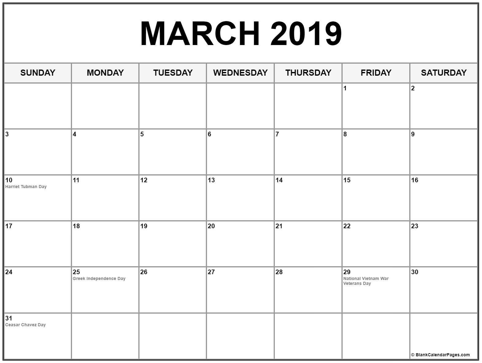 Editable March 2019 Calendar Printable Blank Template in