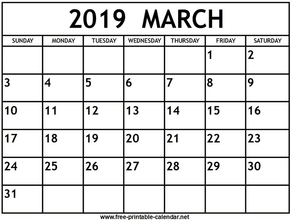 March 2019 Calendar Print Calendar from Free printable