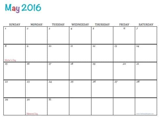 Printable May Calendar Free Printable Calendar May 2016