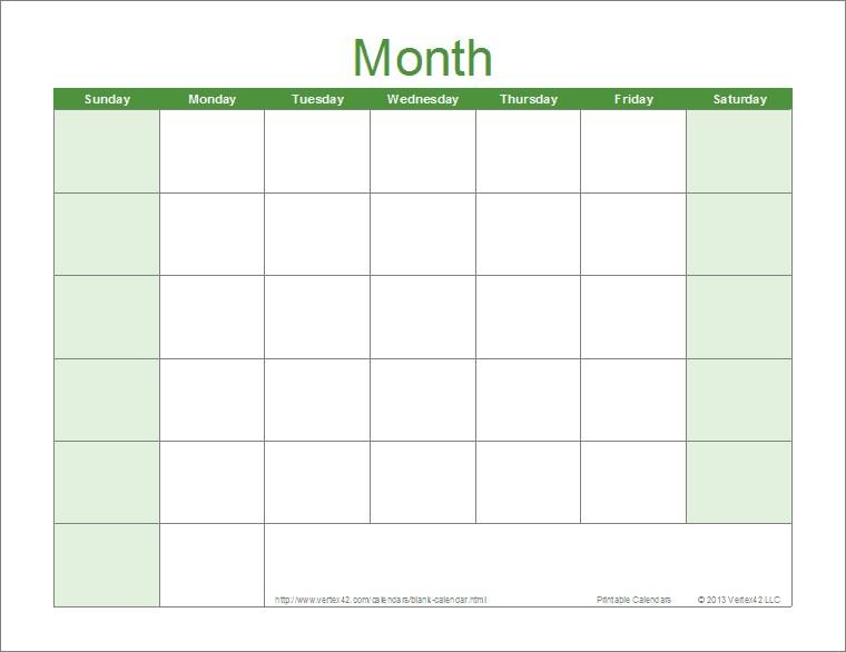 Printable Monthly Blank Calendar Blank Calendar Template Free Printable Blank Calendars