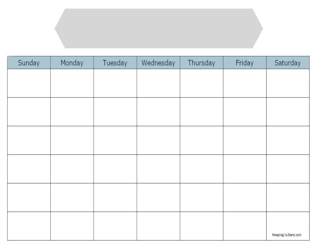 Printable Monthly Blank Calendar Blank Calendar to Print Keeping Life Sane