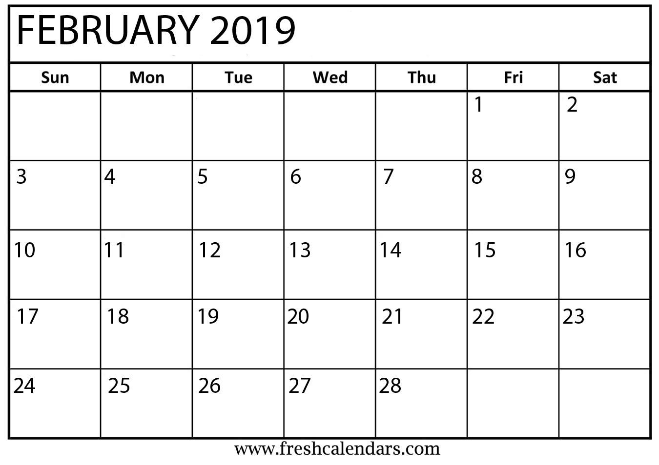 Printable February 2019 Calendar Fresh Calendars