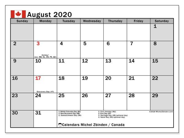 Printable Monthly Calendar 2020 Canada August 2020 Calendar Canada Michel Zbinden