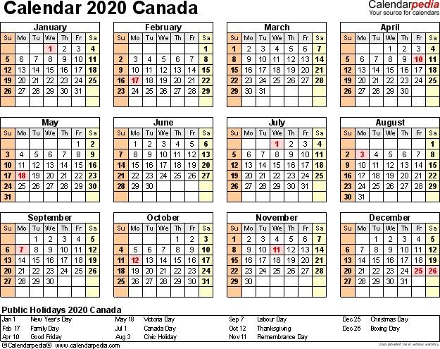 Canada Calendar 2020 Free Word Calendar Templates