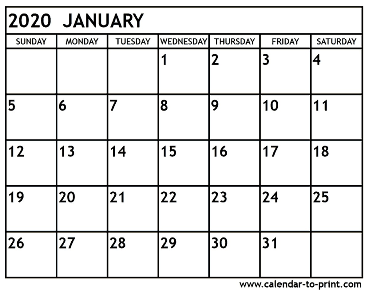 Printable Monthly Calendar for 2020 January 2020 Calendar Printable