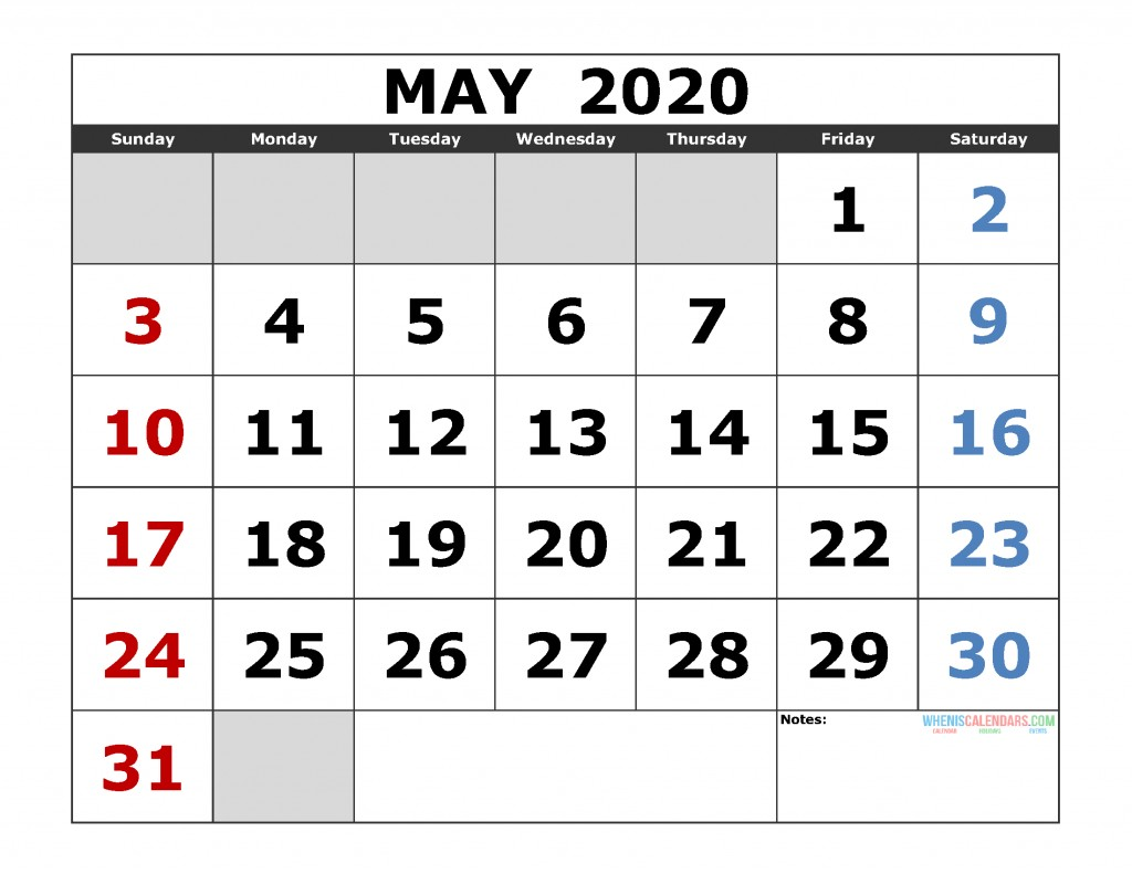 Printable Monthly Calendar for 2020 May 2020 Printable Calendar Template Excel Pdf Image [us