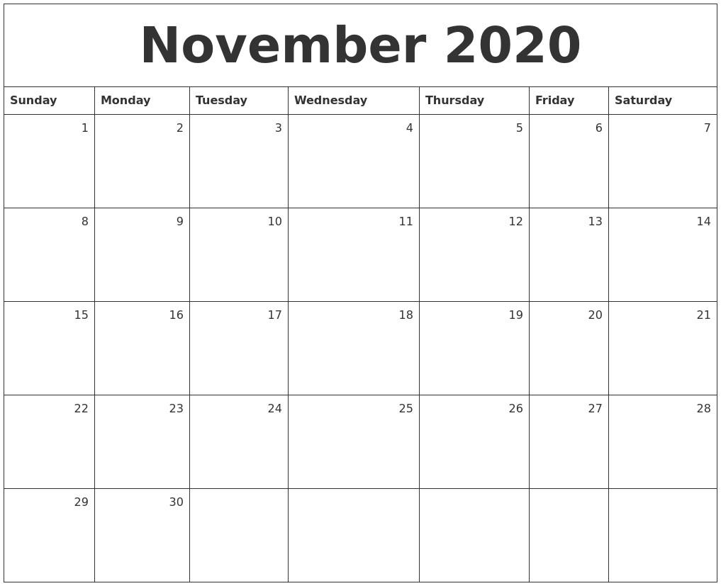 Printable November 2020 Calendar November 2020 Monthly Calendar