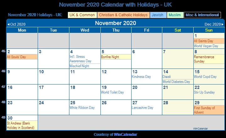 Print Friendly November 2020 UK Calendar for printing