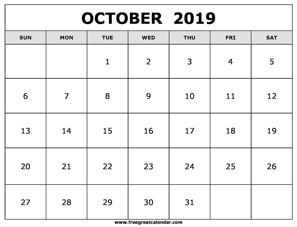 Printable October 2019 Calendar Blank October 2019 Calendar Printable