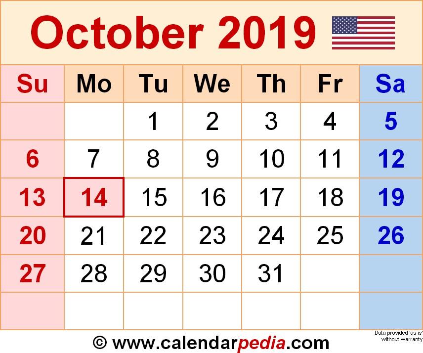 Printable October 2019 Calendar October 2019 Calendars for Word Excel & Pdf