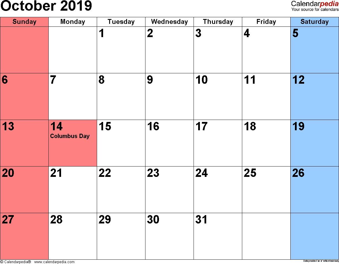 October 2019 Calendars for Word Excel & PDF